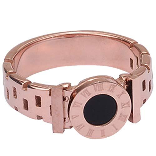 xiaoyamyi Damen Ring Edelstahl Schwarz römische Ziffern Ringe Rotgold Aushöhlung Ringe Mode Marke Schmuck Größe 6-8 für Damen und Mädchen - Rose Gold 6