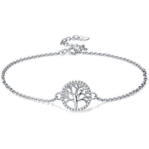Lydreewam Lebensbaum Fußkettchen Silber 925 für Damen Sommer Barfuß Strand Fusskettchen, verstellbare 22+4 cm