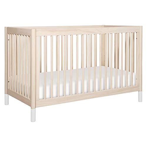 Babyletto Gelato 4-in-1 Convertible Crib with Toddler Bed Conversion in Washed Natural/White, Greenguard Gold Certified