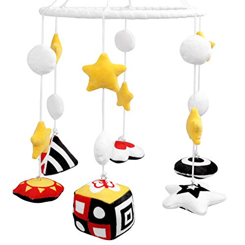 Baby Mobile for Crib Nursery Mobile Black and White Stim Crib Mobile for Infants Visual Stimulation Newborn Hanging Crib Toy Gifts Reversible Baby Mobile Montessori No Holder