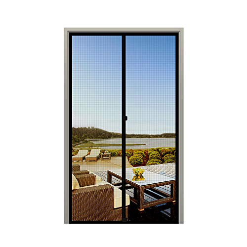MAGZO Screen Door Magnets Fit Door Size 36 x 80,Durable Fiberglass Door Mesh with Full Frame Hook&Loop for Sliding Door-Black
