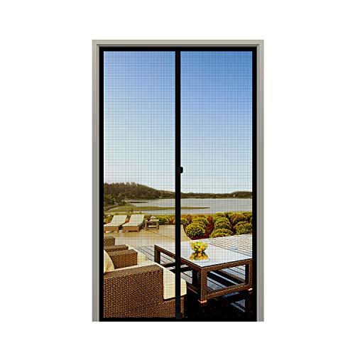 """MAGZO Screen Door Magnets 36 x 80, Durable Fiberglass Door Mesh with Full Frame Hook&Loop for Sliding Door Fits Door Size up to 36""""x80"""" Max-Black"""