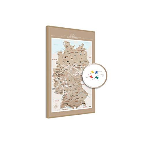 PinDeineWelt - Hochwertige BRAUNE Reise Pinnwand DEUTSCHLANDKARTE - Pinnwand XXL - Personalisiert mit [Namen] – inkl. ECHTHOLZRAHMEN mit Pins und PERSONALISIERUNG, Größe: 100x75 cm