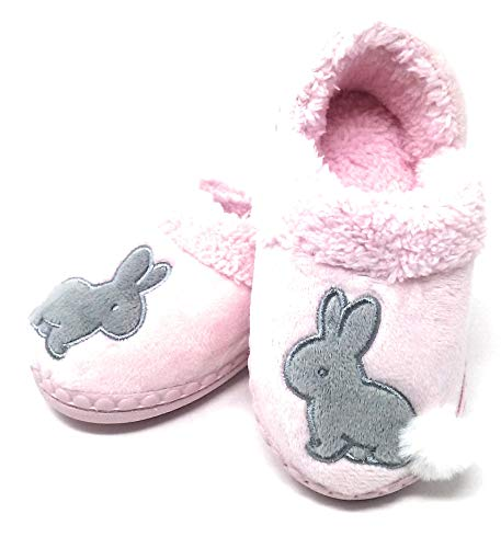 Wonder Nation Girl's Slippers, Assorted Sizes and Styles (Children 7-8, Pink- Grey Rabbit)
