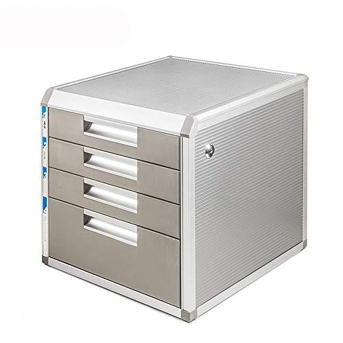 Chengzuoqing Speichermodul 4 Schichten Abschließbare Daten Cabinet Desktop-File Cabinet Mehrschichtige Drawer File Storage Bürobedarf Aluminiumlegierung Desktop Datei Box für Büro, Home Office