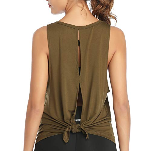 Workout Tops for Women Yoga Shirts Open Back Muscle Running Tank Tops Athletic Workout Clothes ArmyGreen