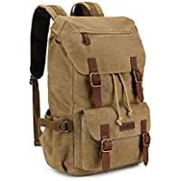Kattee Canvas Leather Hiking Backpack