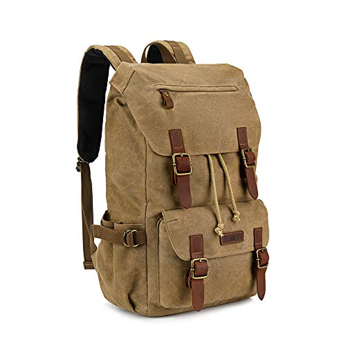 Kattee Canvas Leather Hiking Backpack Travel Rucksack School Bag Vintage...