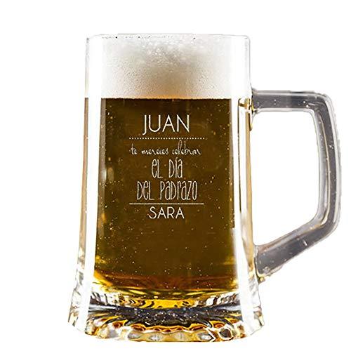 Regalo para el Día del Padre Personalizable: Jarra de Cerveza grabada con su Nombre,...