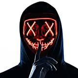 Halloween LED Mask Purge Mask Light Up Scary Mask EL Wire LED Hacker Mask Costume for Halloween Festival Party