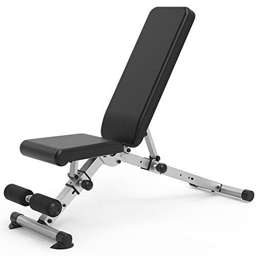 leikefitness Banco de pesas ajustable plegable con bloqueo automático para declinación vertical de inclinación y ejercicio plano de cuerpo completo GM5809 (Negro) ✅