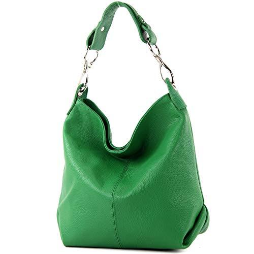 modamoda de - T168 - ital Schulter-/Umhängetasche aus Leder, Farbe:Blattgrün