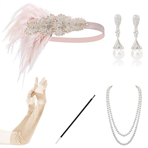 Gatsby accessories 1920 Accessories Set 1920s Flapper Accessories Set Vintage Headband Earrings Necklace Gloves Cigarette Holder Flapper Set for Party Dance champgane B