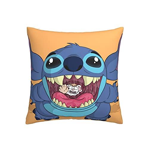 Dxddsdks Funda de cojín de dibujos animados Lilo Stitch Anime Funda de almohada de impresión 3D, suave y cómoda, 18 x 45,7 cm