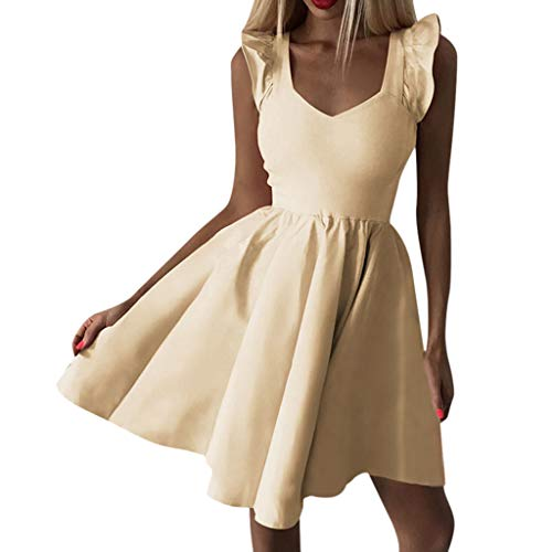 TWIFER Damen Ärmellos Sommerkleid V-Ausschnitt Party Cocktail Mini Figurbetontes Kleid Partykleider Ballkleid