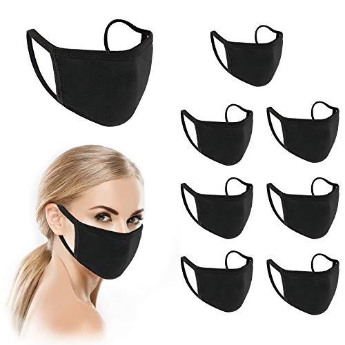 InnooCare 8 Stück Unisex Atmungsaktiver Waschbar Wiederwendbar Gesicht Schützend Mund Abdeckung Schwarz