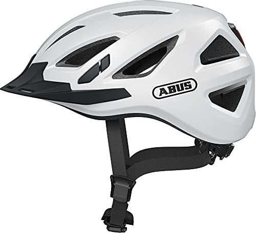 ABUS Urban-I 3.0 Stadthelm - Fahrradhelm mit Rücklicht für den Stadtverkehr - für Damen und Herren - 86858 - Weiß, Größe S