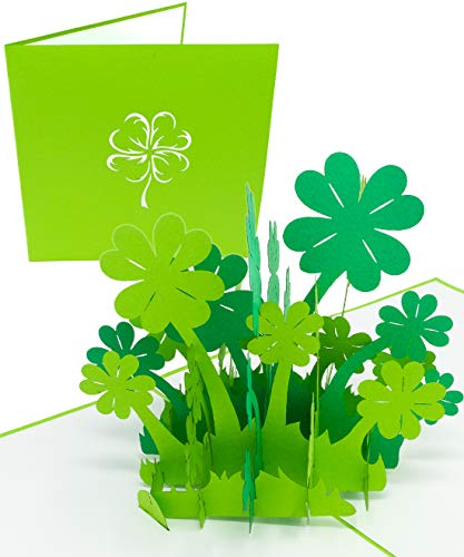 LuckeeCards® 3D-Glücksklee-Karte - Gute Besserung - Geburtstag - Glückwunschkarten - Prüfung Geschenk - eignet sich als Einladungskarte oder Gutschein