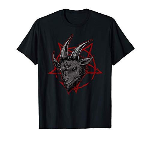 Satanische Ziege okkult Luzifer Baphomet Pentagramm Metal T-Shirt