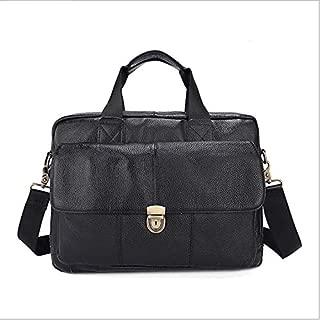 Men's Genuine Leather Bag Leisure Business Handbag Layer Cowhide Briefcase Laptop Bag (Color : Black)