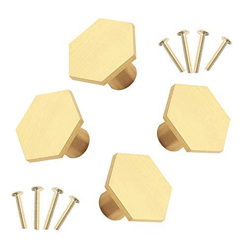Gativs 4 Pezzi Manopole in Ottone Pomelli Oro Maniglia a Forma di Esagonale Pomelli per Cassetti a Foro Singolo Maniglia per Armadio con Viti,Maniglie per Mobili Armadio Cassetto,30x21mm