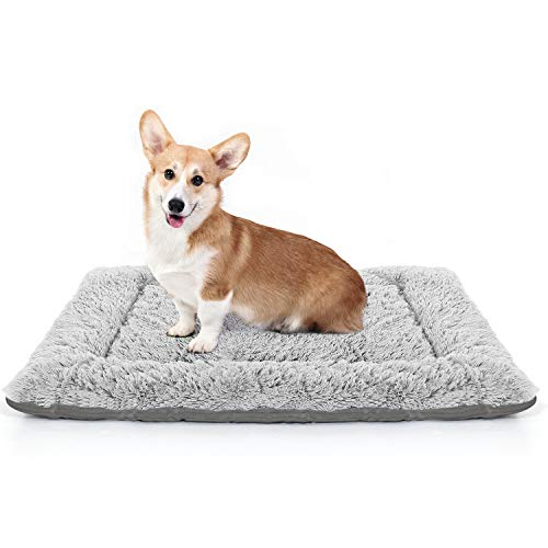 LOLO Dog Bed | Super Soft Dog Crate Pad Mat | Machine Washable Dog Bed for Medium Dogs with Striped Non-Slip Bottom | Comfortable Pet Bed for Dogs and Cats Grey Small Categories