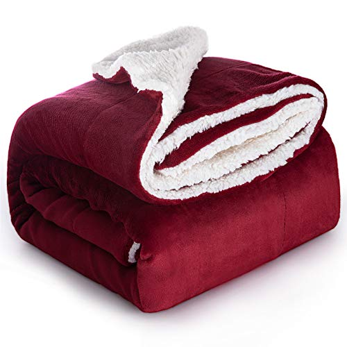 Bedsure Sherpa Fleece Throw Blanket for Couch - Red Burgundy Maroon Wine Thick Fuzzy Warm Soft Blankets and Throws for Sofa, 50x60 Inches