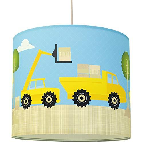 anna wand Hängelampe UNDER CONSTRUCTION – Lampenschirm für Kinder/Baby Lampe mit Baustellen-Motiv – Sanftes Kinderzimmer Licht Mädchen & Junge – ø 40 x 34 cm