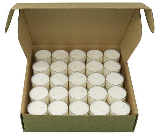 Paquete de 50 velas de té naturales sin aroma Cera de colza 100% sin parafina Tiempo de combustión 8 horas en vaso transparente reciclable respetuoso con el medio ambiente