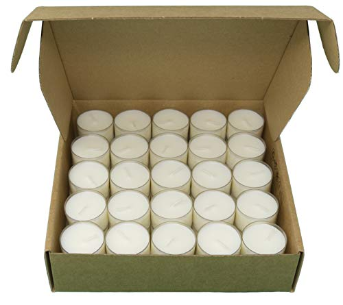 Coraz Home Teelichter 100% Rapswachs, paraffinfrei, geruchlos Kerzen Brenndauer 4 oder 8 Stunden in recycelbaren transparenten Bechern, umweltfreundlich, 50 Stück, Plastiktüte oder Karton