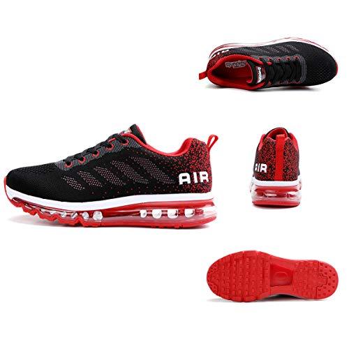 Air Zapatillas de Running para Hombre Mujer Zapatos para Correr y Asfalto Aire Libre y Deportes Calzado Unisexo Black Red 39