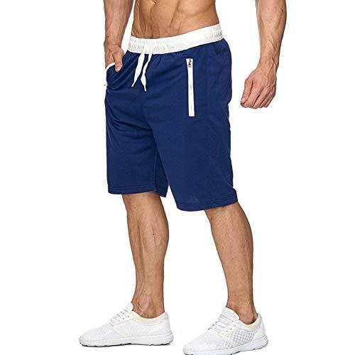 CARWORNIC Men's Athletic Workout Shorts Lightweight Bodybuilding Gym Running Basketball Shorts with Zipper Pockets, Blue, 34