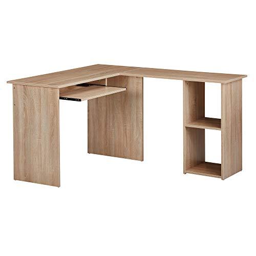 Wohnling Design - Combinazione da scrivania, 140 x 75,5 x 120 cm, Sonoma | Scrivania con ripiano e estraibile per tastiera, per studio, casa, ufficio, moderno