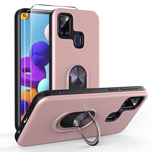 Oududianzi para Samsung Galaxy A21s Funda y 2 Protectores de Pantalla de Vidrio Templado, TPU + PC Funda para teléfono con Soporte de Anillo a Prueba de Golpes para Samsung Galaxy A21s-Oro Rosa