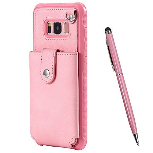 TOUCASA für Samsung Galaxy S8 Hülle, Handyhülle Brieftasche PU Leder Flip [Mit Spiegeldesign] Case Magnetverschluss Handytasche Klapphülle Hülle für Samsung Galaxy S8 (Pink)
