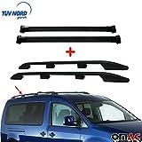 OMAC GmbH - Juego de baca y portaequipajes para Caddy 2003 – 2010, aluminio, color negro con TÜV ABE