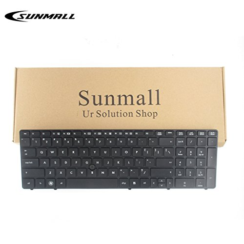 SUNMALL Keyboard Replacement with Black Frame for HP Elitebook 8560P 8570P Probook 6560B 6565B 6567B 6570B 6575B Series Laptop Black US Layout