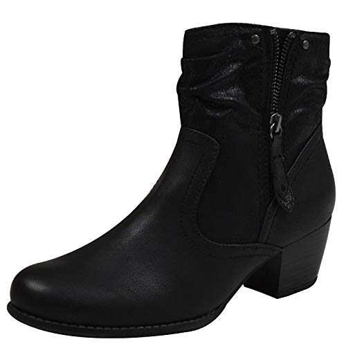 Jana Soft Line 25370 Campbell élégant Wide Fit Smart Boot dans Noir Mix 36 Black Mix