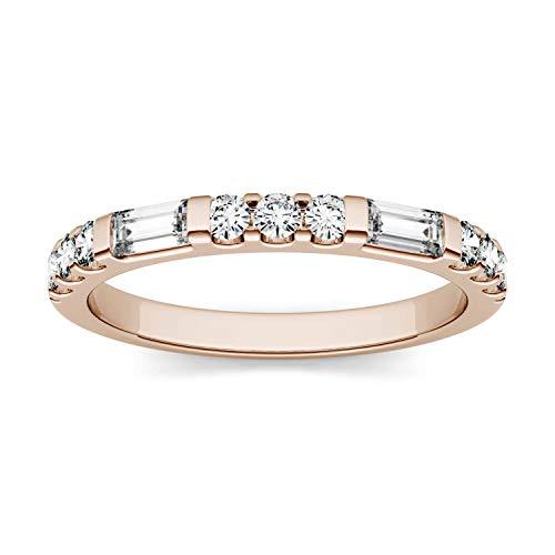 Charles & Colvard Forever One anillo de boda - Oro rosa 14K - Moissanita de 4.0 mm de talla baguette, 0.502 ct. DEW, talla 19,5