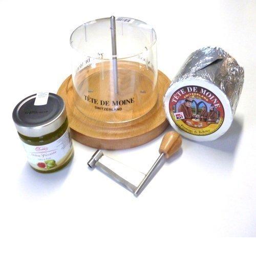 Tete de Moine Juego completo rallador de queso con cubierta + 1 queso entero Tete de Moine 850 gr aprox. + mostaza de higo 250 gr