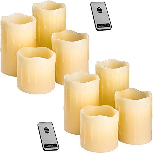 TecTake LED Kerzen mit Fernbedienung | flammenlose Echtwachskerzen | batteriebetrieben | diverse Mengen (2x 4er Set | no. 402889)