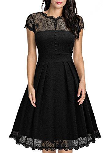 MIUSOL Damen Elegant Spitzenkleid Cocktailkleid Knielanges Vintage 50er Jahr Abendkleid Schwarz XXL