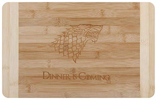 mikamax - Dinner is Coming Cuttingboard - Tagliere da Chef in bambù - Tagliere Ispirato ai Trono di Spade - 100{e599608fe2fbcbc509eccee3568325be5f67ee42dc3f26ebc5b200eedf8dd6d3} Bambú - 25 x 1.5 x 35 cm - Inspired by Games of Thrones - Piatto da Chef in bambù