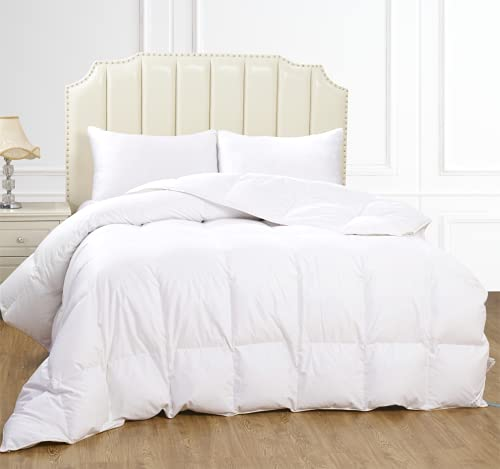 All-Natural White Down Comforter - Super Soft & Fluffy, Breathable...