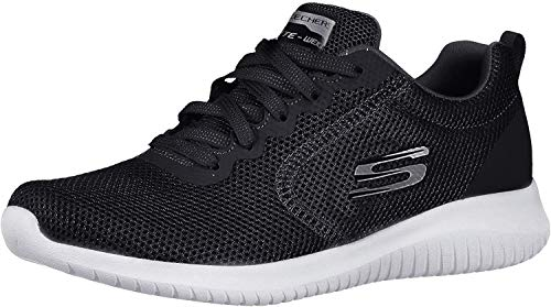 Skechers Ultra Flex – Free Spirits, Negro/Blanco, 8 Wide