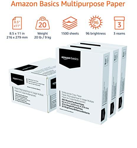 Amazon Basics Multipurpose Copy Printer Paper - White, 8.5 x 11 Inches, 3 Ream Case (1,500 Sheets)