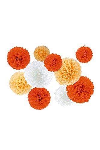 華やか ペーパー フラワー ポンポン 3サイズ 3色セット組 【Sunrise】 ガーベラ+オレンジ+ホワイト