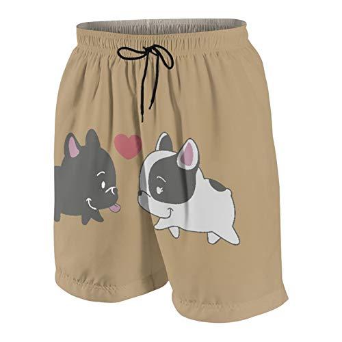 SUHOM De Los Hombres Casual Pantalones Cortos,Bulldog francés bebé Enamorado,Secado Rápido Traje de Baño Playa Ropa de Deporte con Forro de Malla