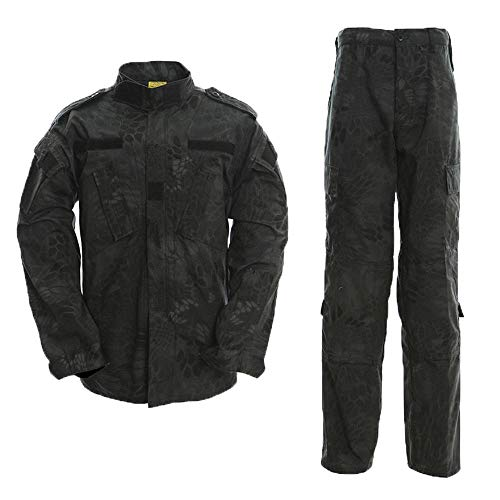 AKARMY Unisex Lightweight Military Camo Tactical Camo Hunting Combat BDU Uniform Army Suit Set MCF Black MW