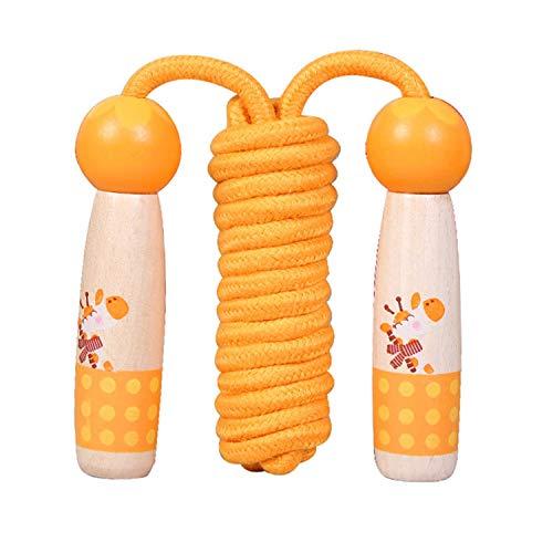 Sinwind Springseil für Kinder, Springenseil Kinder mit Cartoon Holzgriff, Verstellbare Kinder Springseil Speed Rope, für Jungen und Mädchen, Sport Training (Orange - Giraffe)